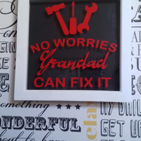 Grandad Can Fix It Vinyl Box Frame, Father's Day Gift, Birthday present