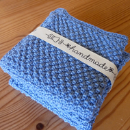 Knitted Blue Cotton Washcloth Set