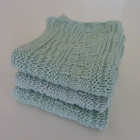Hand Knitted Green Cotton Dish Cloth- Set of 3