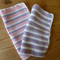 Knitted Cotton Lilac Stripe Dish Cloth