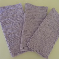 Lilac Knitted Cotton Dishcloth Set- Set of 3