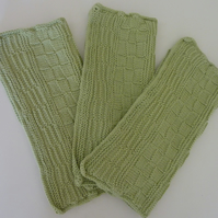 Set of Three Knitted Dishcloths in Light Moss Green
