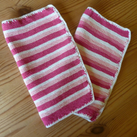 Knitted Pink Stripe Cotton Dishcloth