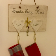Hand Crafted Christmas Plaques with Stockings. Personalised