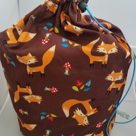 Extra large fox knitting project bag