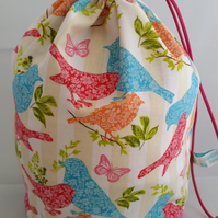 Large birds and butterflies knitting project bag