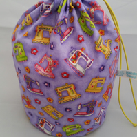 Large purple sewing machines knitting project bag