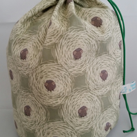 Large khaki green mouse knitting project bag