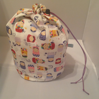 Extra large russian dolls  knitting project bag
