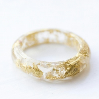 CUSTOM ORDER FOR WILL 24ct gold in resin ring size UK N