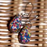 Bold sprinkles dangle earrings