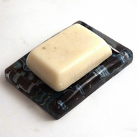 Java blue resin soap dish and Soapy Chica soap gift set