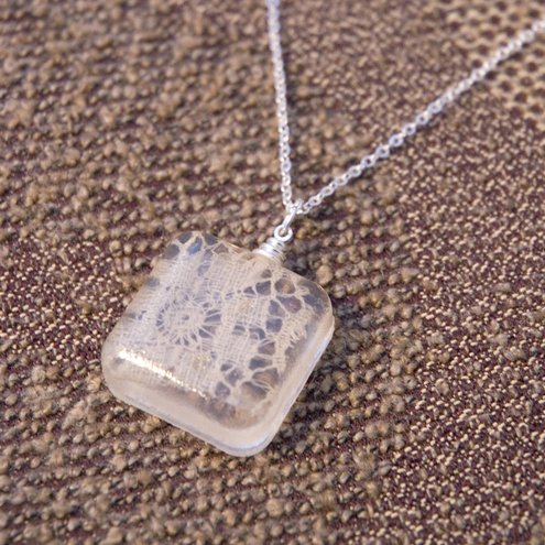 Square recycled vintage lace pendant