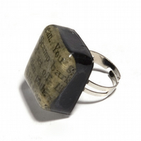 Recycled Enid Blyton book resin adjustable ring
