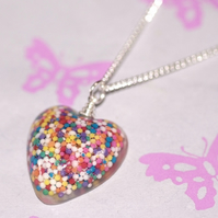 Bold Sprinkles heart pendant on 16 inch silver plated chain