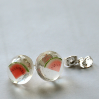 Watermelon resin stud earrings