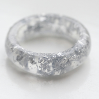 Silver leaf and resin ring size K/L