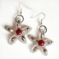 Granite and resin flower earrings