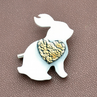White resin bunny rabbit brooch
