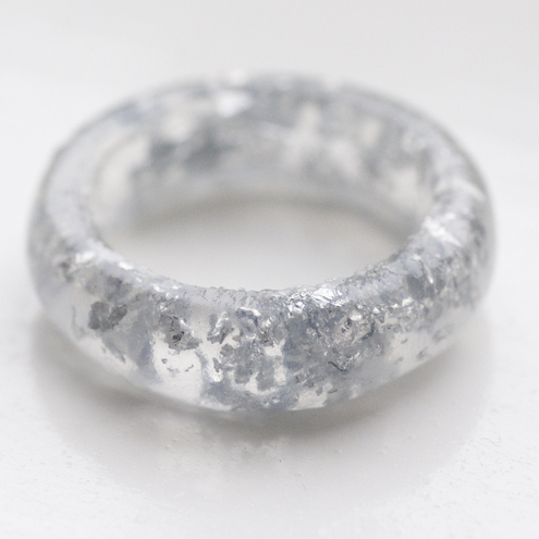 Silver leaf and resin ring size L