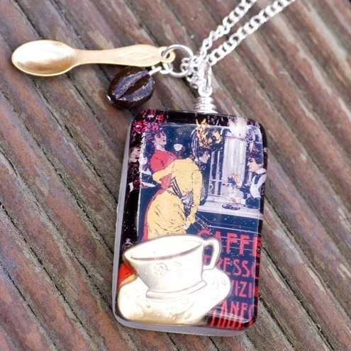Caffe Espresso Coffee Resin pendant on 16 inch silver plated chain