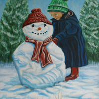 Original painting Holly and Snowman 4