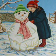Original painting Holly and Snowman 2