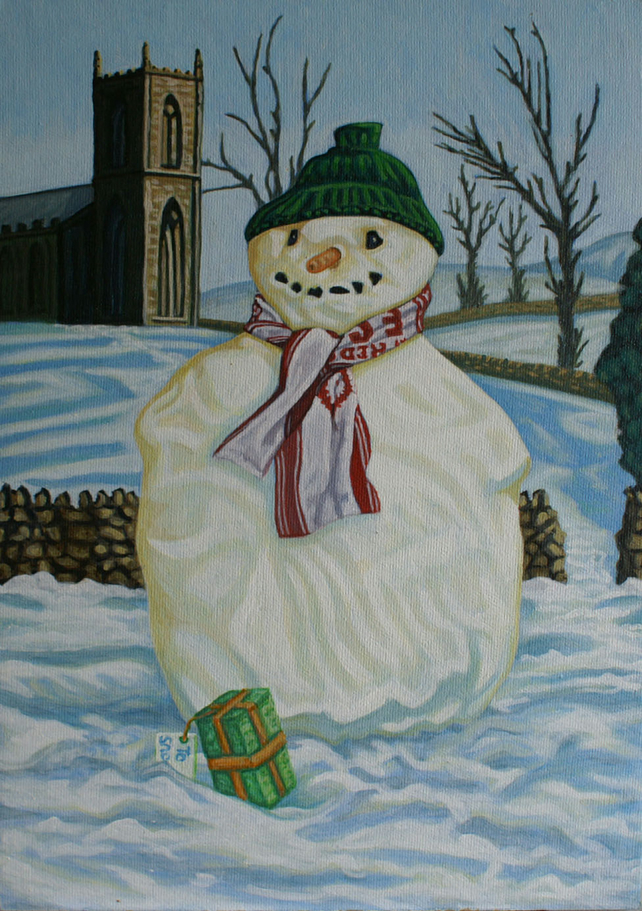 Original Painting Holly's First Snowman 2