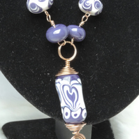 Artisan Lampwork Bead Necklace, Handforged bronze chain White and Purple