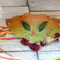 Elven wall hanging mask in fused glass Spring Green and Orange