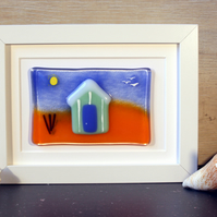 Beach Hut Fused Glass