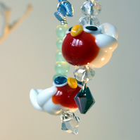 Lampwork glass Snow Robin decoration