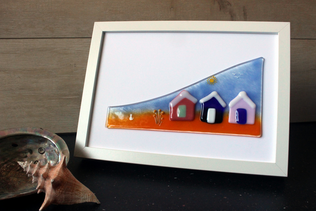 Beach Huts Wave scene framed