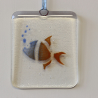 Fish fused glass suncatcher