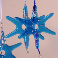 Star in Fused Glass Wire wrapped and beaded in  Bright Blue or Orange