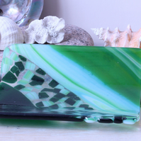 Medium Green mosaic style fused glass sushi dish