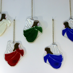 Large fused glass Christmas, Guardian or Memorial angel can be personalised