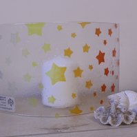 Glass stars candle screen, ombre, multicoloured fused glass