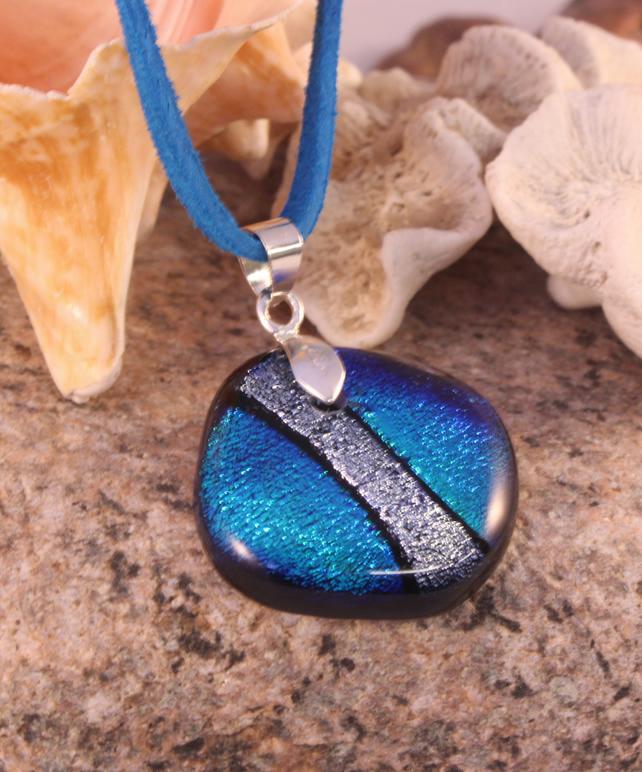 Peacock Blue and Silver Dichroic Glass Pendant Necklace