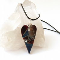 Brown and Blue Mosaic Heart Pendant