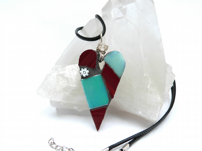 Sale! Pale Teal and Red Mosaic Heart Pendant