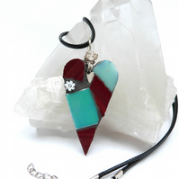 Pale Teal and Red Mosaic Heart Pendant
