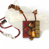 Tiger's Eye Mosaic Pendant Necklace
