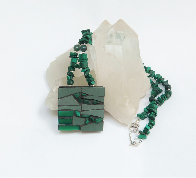 Hunter Green Mosaic Pendant Necklace
