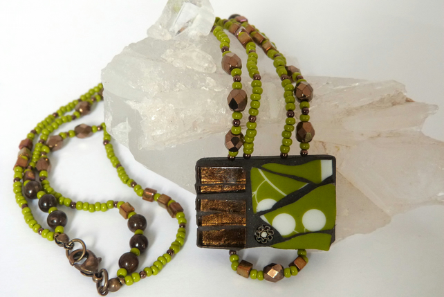 Green Ceramic and Brown Glass Mosaic Necklace