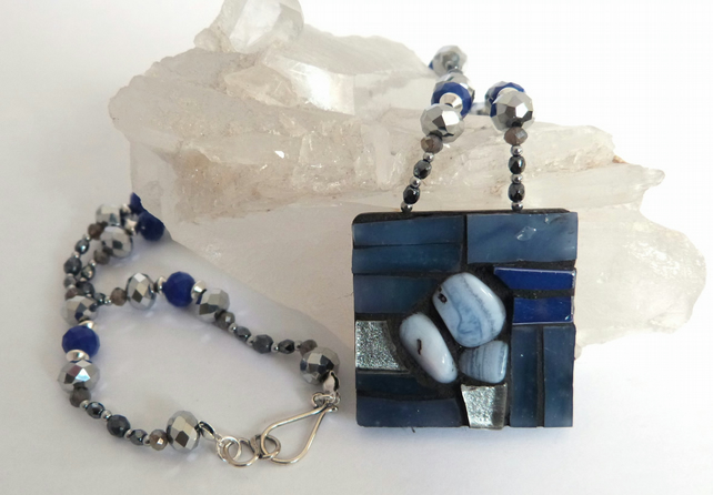 Blue Lace Agate and Glass Mosaic Pendant Necklace