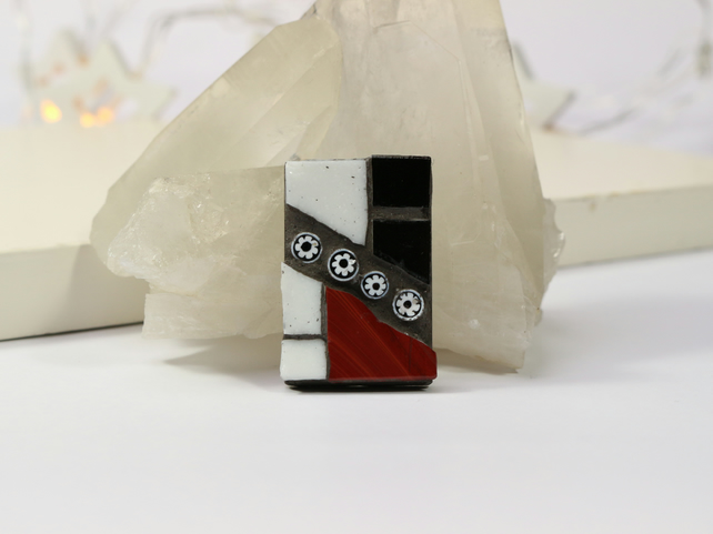 Red, Black and White Brooch
