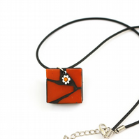 Orange Mosaic Pendant with Millefiori Flower