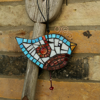 Blue Mosaic Bird Suitable for the Garden