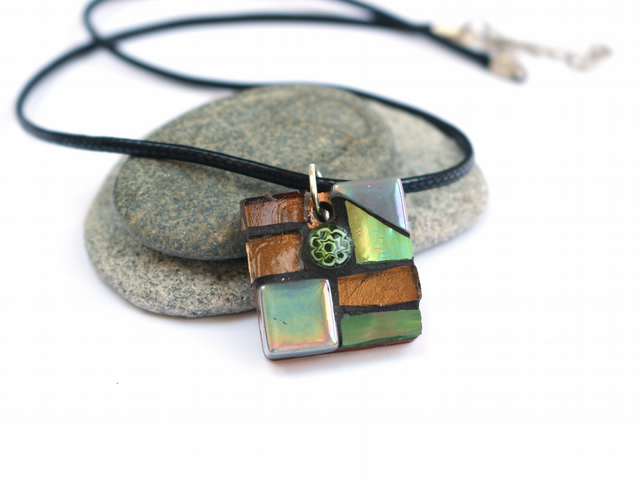Brown and Green Mosaic Pendant